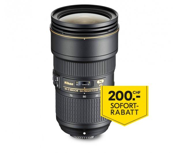 Nikon AF-S 24-70/2.8E ED VR-inkl. 200.- Sofort-Rabatt,3 Jahre CH Garantie
