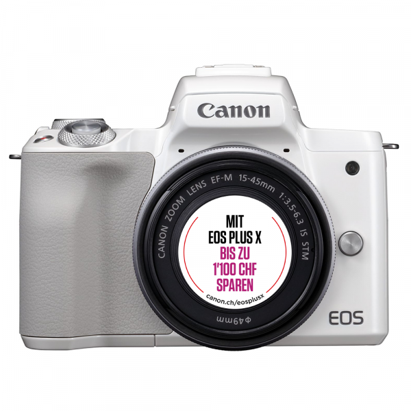 Canon EOS M50 weiss+EF-M 15-45mm IS STM-Kit Bonus Aktion,CH Gar.